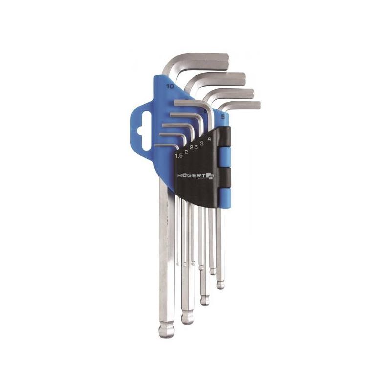 Kuuskant L võtmete komlekt palliga 1,5-10mm 9tk 1W804
