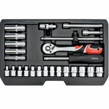 """Tööriistakohver 1/4"""" 25osa T+narre+padr+pikkpadr 14461"""