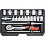 """3/8"""" tööriistakohver 22osa T+narre+padrun+6-22mm 38561"""