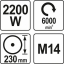 Nurklihvija lõikur 230mm 220v 2200w 6000/min m14 82102